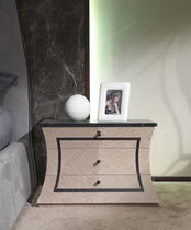 Contemporary bedside table / wooden / marble / rectangular