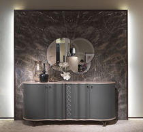 Contemporary sideboard / wooden / leather / gray