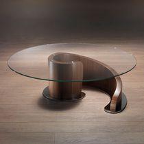 Contemporary coffee table / glass / metal / walnut