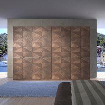 Contemporary wardrobe / walnut / with hinged door