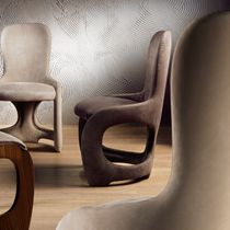 Contemporary chair / upholstered / leather