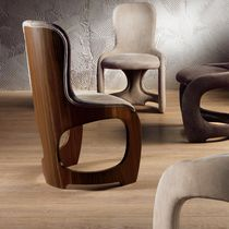 Contemporary chair / upholstered / walnut