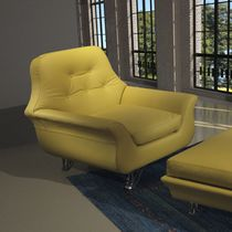 Traditional armchair / fabric / with footrest