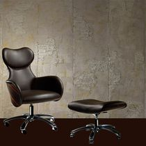 Contemporary office armchair / leather / ebony / with footrest