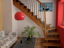 Straight staircase / quarter-turn / wooden steps / wooden frame