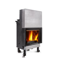 Closed wood hearth / 1-sided / steel / cast iron