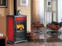 Wood boiler stove / traditional / cast iron / stone