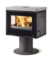 Wood heating stove / contemporary / 2-sided / cast iron