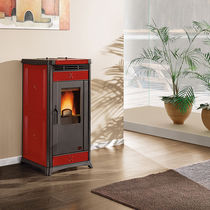 Pellet heating stove / classic / cast iron / earthenware