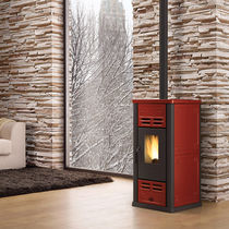 Pellet heating stove / contemporary / cast iron / earthenware