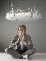 Original design chandelier / glass / LED / by Studio Nendo