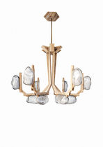 Original design chandelier / wood / glass / LED