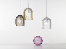 Pendant lamp / contemporary / blown glass / stainless steel