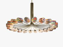 Contemporary chandelier / blown glass / brass / LED