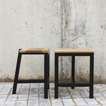 Side table / minimalist design / natural oak / matte lacquered wood