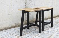 Side table / minimalist design / natural oak / matte lacquered wood