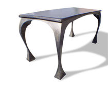 Original design table / stained wood / patinated metal / rectangular