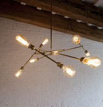 Original design chandelier / brass / incandescent / handmade