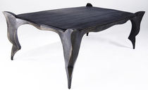 New Baroque design table / oak / patinated metal / rectangular