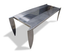 Original design table / stainless steel / rectangular / square