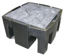 Original design table and chair set / metal / engineered stone / indoor