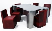 Original design table and chair set / steel / stainless steel / for indoor use