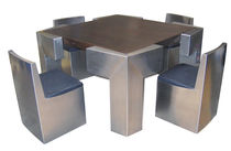 Original design table and chair set / wooden / stainless steel / for indoor use