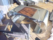 Stainless steel desk / leather / original design / for hotels