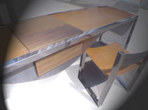 Wooden desk / stainless steel / leather / contemporary
