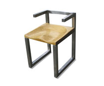 Design chair / solid wood / stainless steel / contract