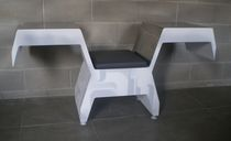 Original design visitor chair / leather / stainless steel / painted steel