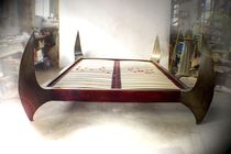 Double bed / original design / solid wood / varnished steel