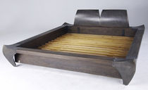Double bed / original design / oak / varnished steel