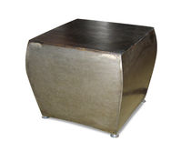 Contemporary side table / oak / patinated metal / rectangular