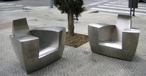 Original design armchair / stainless steel / club / garden
