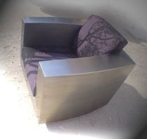 Original design armchair / fabric / stainless steel / on casters