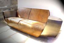 Original design sofa / leather / stainless steel / for hotels
