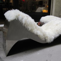 Original design chaise longue / leather / stainless steel / indoor