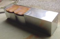 Garden bench / original design / stainless steel / wooden