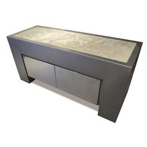 Original design sideboard / stainless steel / natural stone / custom