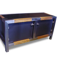 Industrial style sideboard / iroko / stainless steel / iron