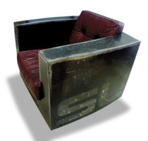 Industrial style armchair / leather / painted metal / on casters