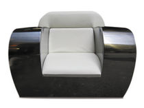 Original design armchair / leather / stainless steel / club