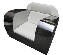 Club armchair / original design / leather / stainless steel