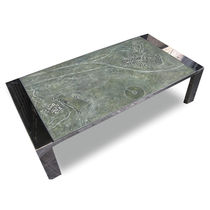 Coffee table / contemporary / engineered stone / stainless steel