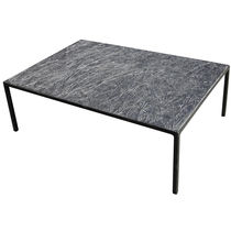 Coffee table / minimalist design / metal / engineered stone