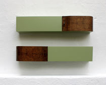 Wall-mounted shelf / original design / walnut / matte lacquered wood