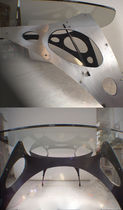 Original design table / glass / metal / oval