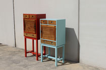 Chest of drawers with long legs / original design / lacquered wood / blue