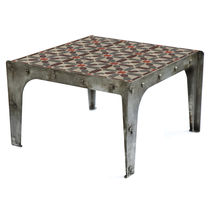 Industrial style coffee table / cement / patinated metal / rectangular